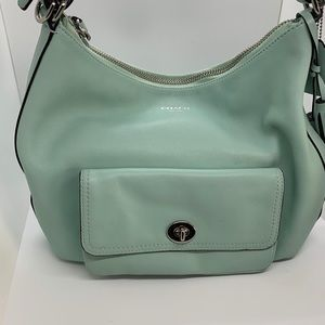 Coach rare mint green hobo style leather bag